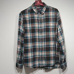 Old Navy flannel plaid men shirt brown acuablue